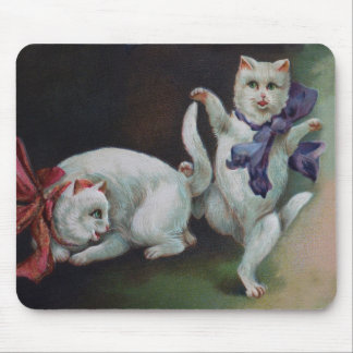 A Dancing White Cat with Female Feline Admirer Mouse Pad