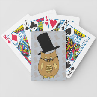 A Dandy Little Owl in Top Hat and Spectacles Bicycle Playing Cards