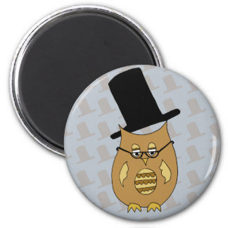 A Dandy Little Owl in Top Hat and Spectacles Magnet