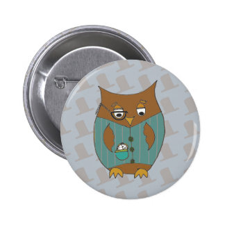 A Dandy Owl in waistcoat and monocle Pins