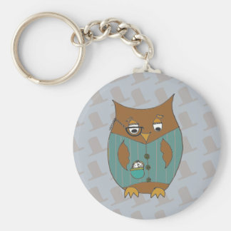 A Dandy Owl in waistcoat and monocle Key Chains