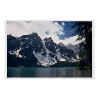 A Dark Mountain With Snow Patches Poster