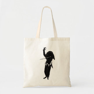 A Dark & Mystical Silhouette of a Flute Player Canvas Bags