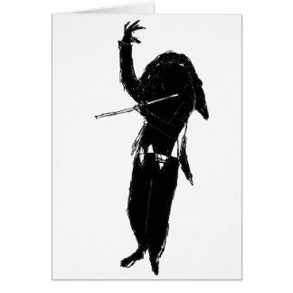 A Dark & Mystical Silhouette of a Flute Player Card