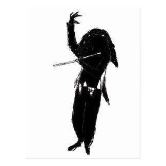 A Dark & Mystical Silhouette of a Flute Player Postcard