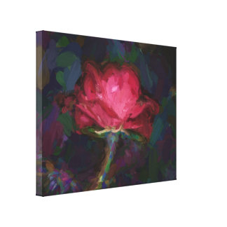 A Dark Pink Rose Flower Edited Like a Painting Canvas Print