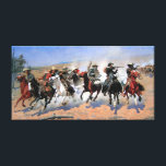 """A Dash for the Timbers Canvas Print<br><div class=""""desc"""">Vintage painting of cowboys heading for cover</div>"""