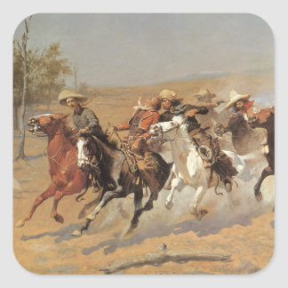 A Dash For Timber by Frederic Remington, Cowboys Square Stickers
