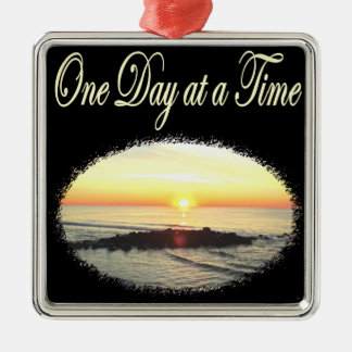 A DAY AT A TIME SUNRISE PHOTO METAL ORNAMENT