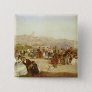 A Day at Boulogne, 1870 (oil on canvas) Pinback Button