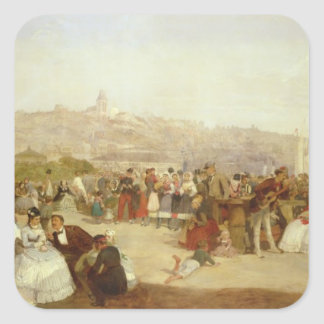 A Day at Boulogne, 1870 (oil on canvas) Square Sticker