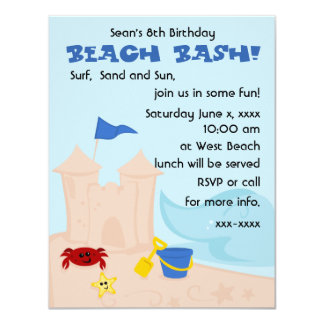 A Day at the Beach 4.25x5.5 Paper Invitation Card