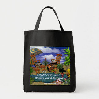 A Day at the Beach Grocery Tote Bag