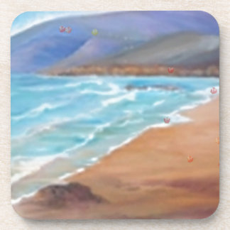 A DAY AT THE BEACH.JPG BEVERAGE COASTERS