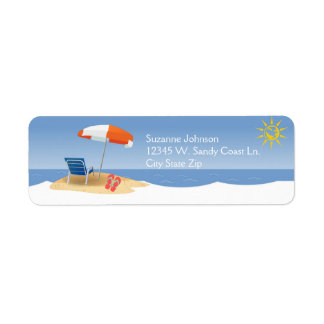 A Day At the Beach Ocean Waves Flip Flops Custom Label