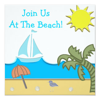 A Day At The Beach Party Card
