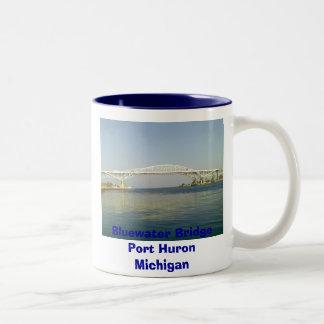 A Day At The Lake, Bluewater Bridge Port Huron ... Two-Tone Coffee Mug