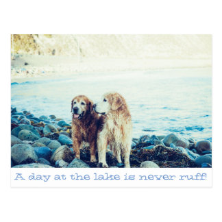 A day at the lake is never ruff! Postcard design