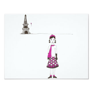 A day in Paris France 4.25x5.5 Paper Invitation Card