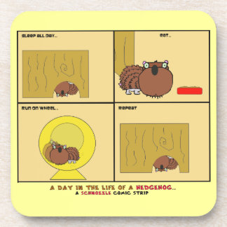 A Day in the Life of a Hedgehog Schnozzle Comic Beverage Coaster