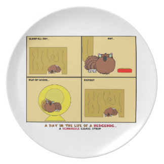 A Day in the Life of a Hedgehog Schnozzle Comic Dinner Plate