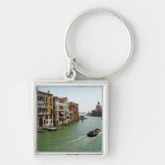 A Day in Venice Silver-Colored Square Keychain