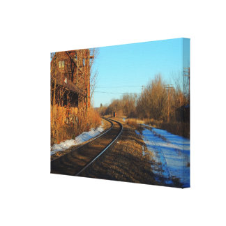 A day near the tracks stretched canvas print