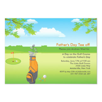 "A Day of Golf Father's Day Invitation 5"" X 7"" Invitation Card"