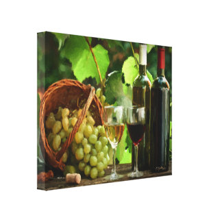 A Day of Wine Tasting Wrapped Canvas Print