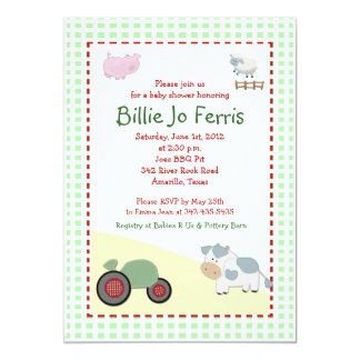 A Day on the Farm 5x7 Barnyard Baby Shower 5x7 Paper Invitation Card