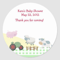 A Day on the Farm Baby Shower Favor Sticker