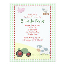 A Day on the Farm Barnyard Baby Shower 4.25 x 5.5 Invitation