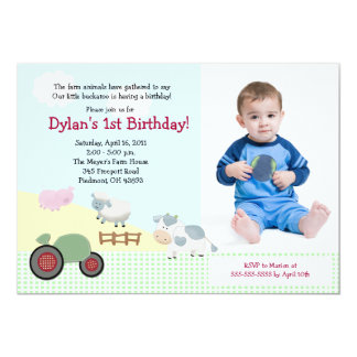 A Day on the Farm *PHOTO* Birthday 5x7 5x7 Paper Invitation Card