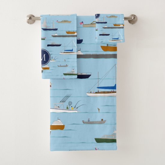 A Day On the River coastal lake river boating Bath Towel Set