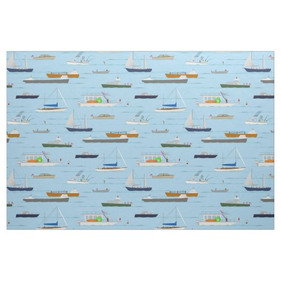 A Day On the River coastal lake river boating Fabric