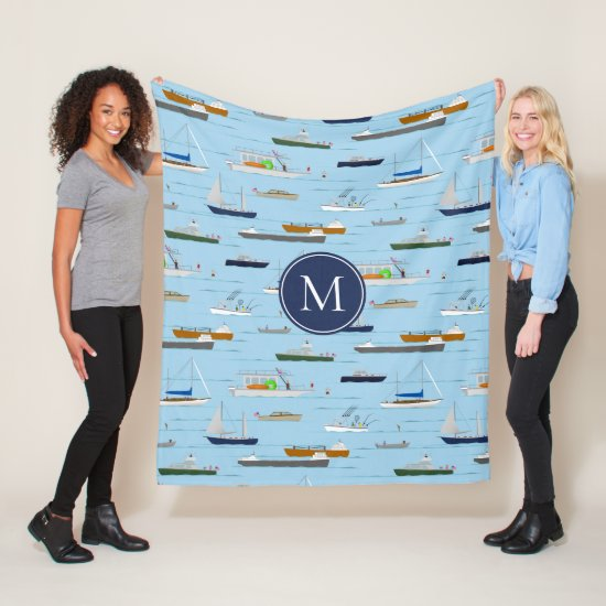 A Day On the River coastal lake river boating Fleece Blanket