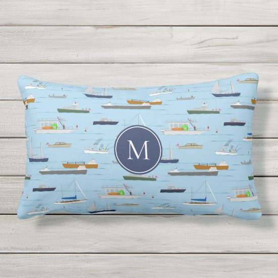 A Day On the River coastal lake river boating Lumbar Pillow