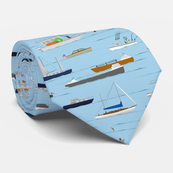 A Day On the River coastal lake river boating Neck Tie