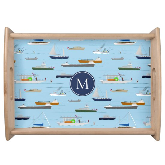 A Day On the River coastal lake river boating Serving Tray