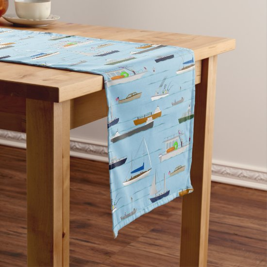 A Day On the River coastal lake river boating Short Table Runner
