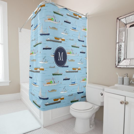 A Day On the River coastal lake river boating Shower Curtain