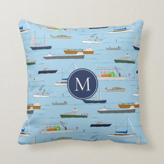 A Day On the River coastal lake river boating Throw Pillow