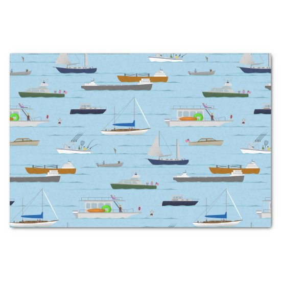 A Day On the River coastal lake river boating Tissue Paper
