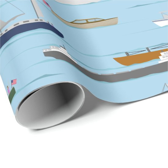 A Day On the River coastal lake river boating Wrapping Paper