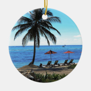 A day under the palm tree ceramic ornament