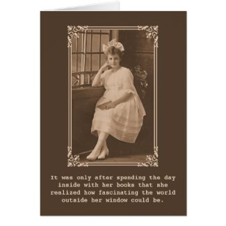 A Day With Books Vintage Photo Greeting Cards