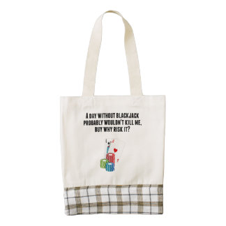 A Day Without Blackjack Zazzle HEART Tote Bag
