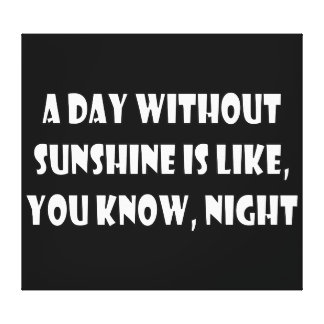 A Day Without Sunshine Is Like You Know Night Gallery Wrapped Canvas