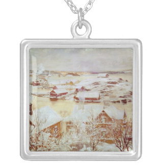 A December Day  c.1893 Square Pendant Necklace