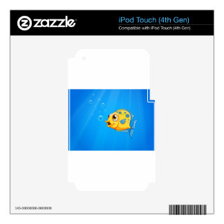 A deep ocean with a yellow fish iPod touch 4G skin